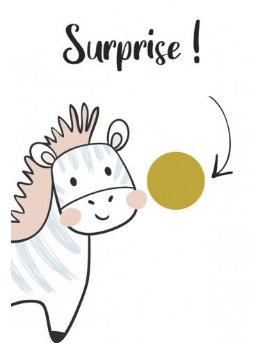 Carte à gratter surprise Zèbre