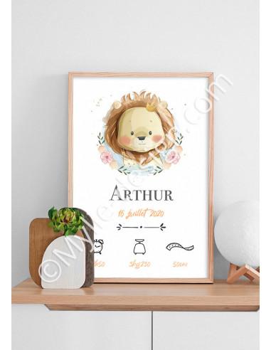 Affiche naissance dessin aquarelle lion