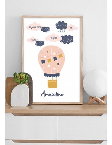 Affiche naissance à personnaliser, nuages et montgolfière