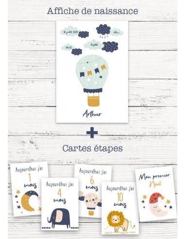 Pack naissance garçon : affiche + cartes étapes